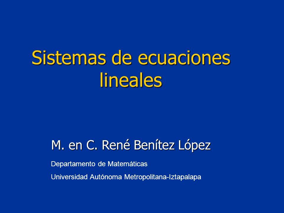Departamento de Matemáticas Universidad Autónoma Metropolitana-Iztapalapa Sistemas de ecuaciones lineales M. en C. René Benítez López