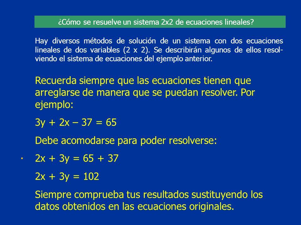 Hay diversos métodos de solución de un sistema con dos ecuaciones lineales de dos variables (2 x 2). Se describirán algunos de ellos resol- viendo el