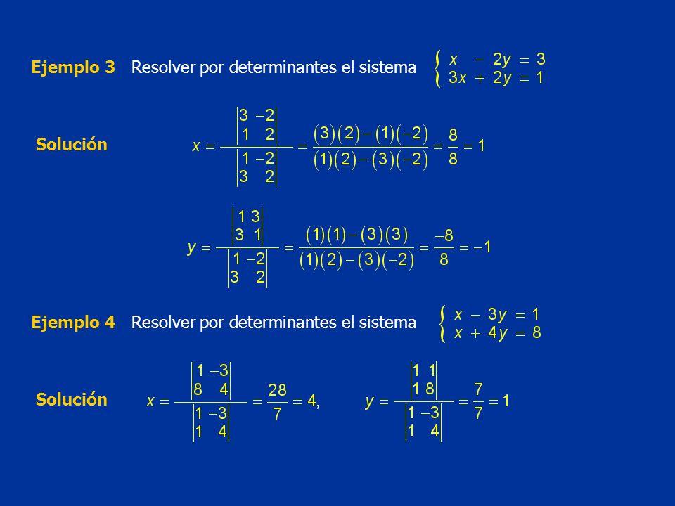 Ejemplo 3Resolver por determinantes el sistema Solución Ejemplo 4Resolver por determinantes el sistema Solución