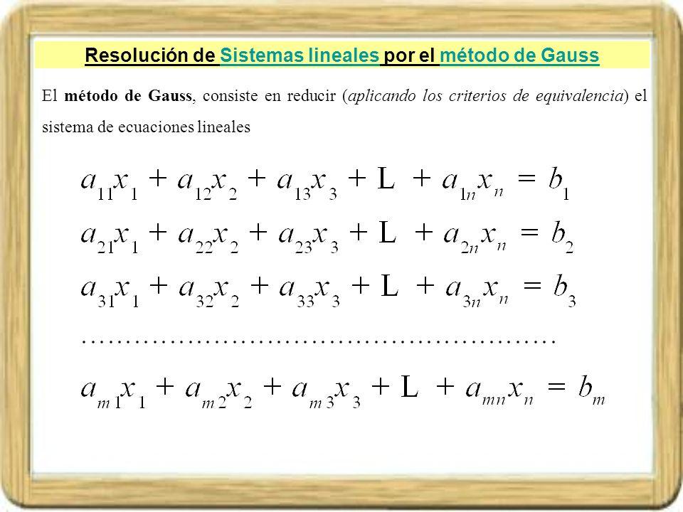 Resolución de Sistemas lineales por el método de GaussSistemas linealesmétodo de Gauss El método de Gauss, consiste en reducir (aplicando los criterio