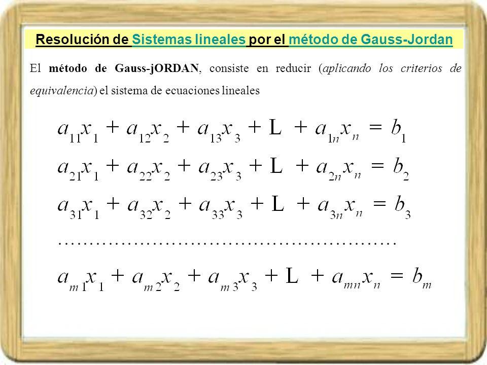 Resolución de Sistemas lineales por el método de Gauss-JordanSistemas linealesmétodo de Gauss-Jordan El método de Gauss-jORDAN, consiste en reducir (a