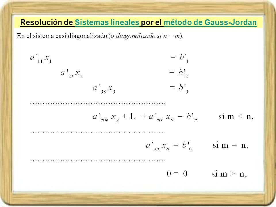 Resolución de Sistemas lineales por el método de Gauss-JordanSistemas linealesmétodo de Gauss-Jordan En el sistema casi diagonalizado (o diagonalizado