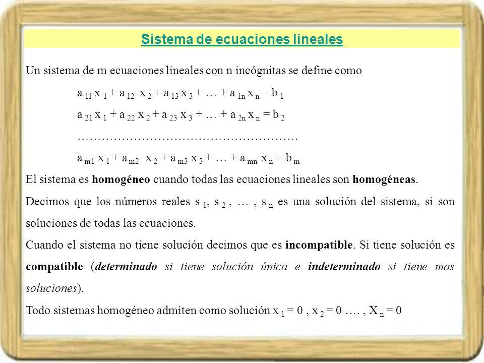 Sistema de ecuaciones lineales Ejemplos 1.- El sistema de ecuaciones lineales 3 x – 2 y + 4 z = 3 5 x – 3 y + z = - 6 4 x + 4 y – z = - 2 Es un sistema de ecuaciones lineales no homogéneo, compatible determinado de solución x = -1, y = 1 y z =2.