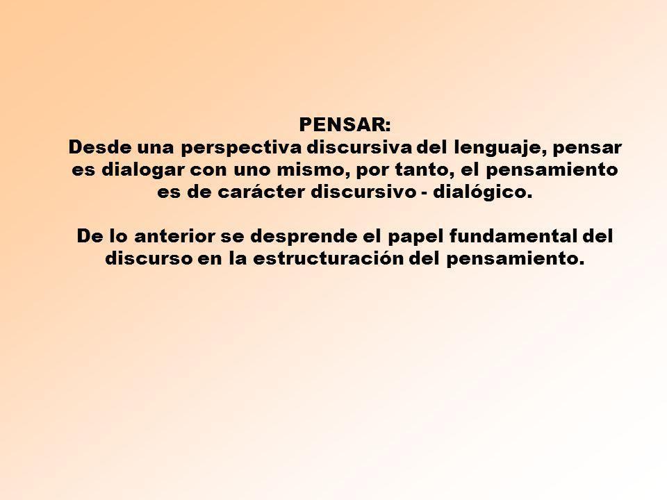 PENSAR: Desde una perspectiva discursiva del lenguaje, pensar es dialogar con uno mismo, por tanto, el pensamiento es de carácter discursivo - dialógi