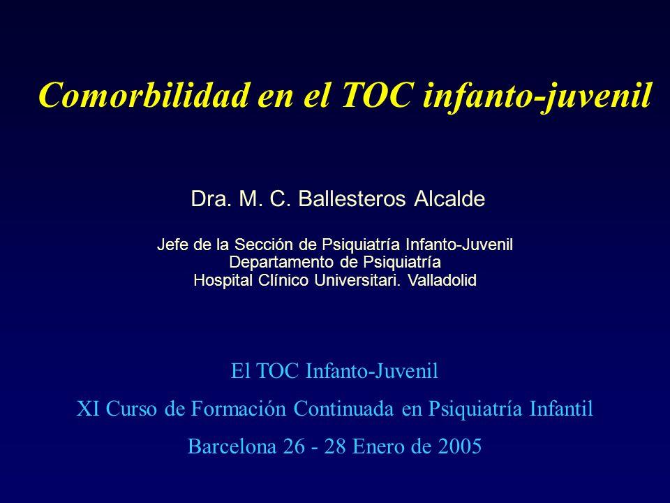 Comorbilidad en el TOC infanto-juvenil Dra. M. C. Ballesteros Alcalde Jefe de la Sección de Psiquiatría Infanto-Juvenil Departamento de Psiquiatría Ho