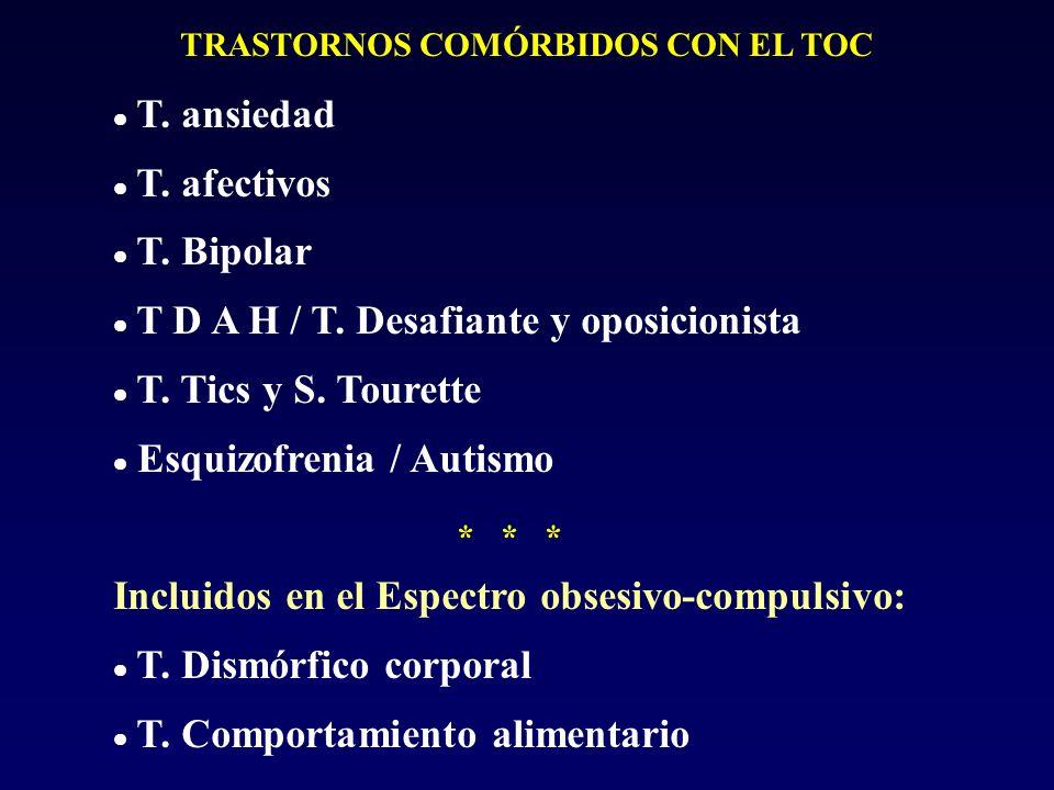 TRASTORNOS COMÓRBIDOS CON EL TOC T. ansiedad T. afectivos T. Bipolar T D A H / T. Desafiante y oposicionista T. Tics y S. Tourette Esquizofrenia / Aut