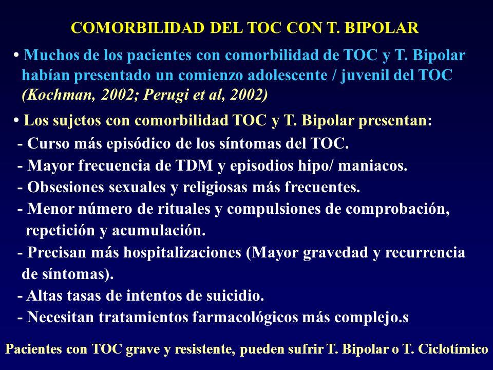 COMORBILIDAD DEL TOC CON T. BIPOLAR Muchos de los pacientes con comorbilidad de TOC y T. Bipolar habían presentado un comienzo adolescente / juvenil d