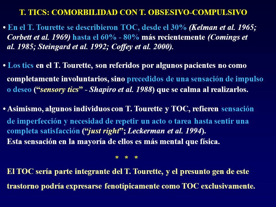 T. TICS: COMORBILIDAD CON T. OBSESIVO-COMPULSIVO En el T. Tourette se describieron TOC, desde el 30% (Kelman et al. 1965; Corbett et al. 1969) hasta e
