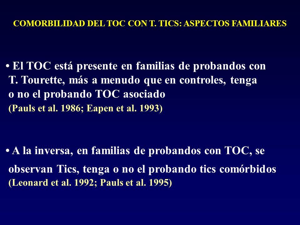 COMORBILIDAD DEL TOC CON T. TICS: ASPECTOS FAMILIARES El TOC está presente en familias de probandos con T. Tourette, más a menudo que en controles, te