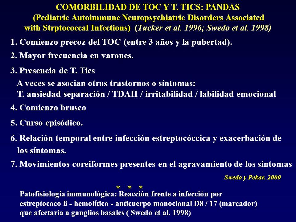 COMORBILIDAD DE TOC Y T. TICS: PANDAS (Pediatric Autoimmune Neuropsychiatric Disorders Associated with Strptococcal Infections) (Tucker et al. 1996; S