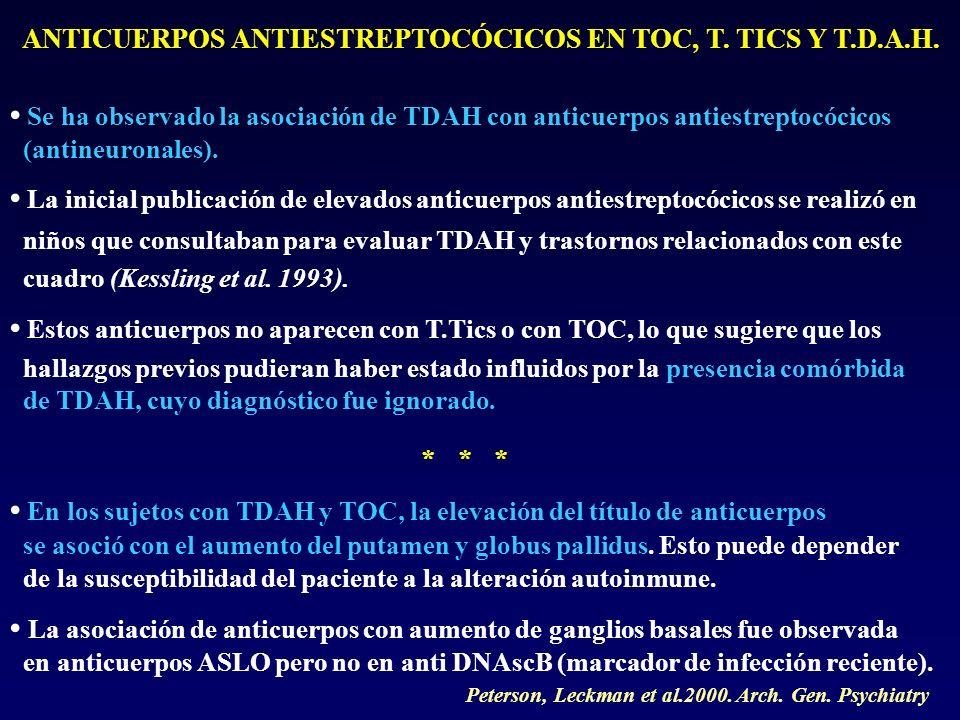 ANTICUERPOS ANTIESTREPTOCÓCICOS EN TOC, T. TICS Y T.D.A.H. Se ha observado la asociación de TDAH con anticuerpos antiestreptocócicos (antineuronales).