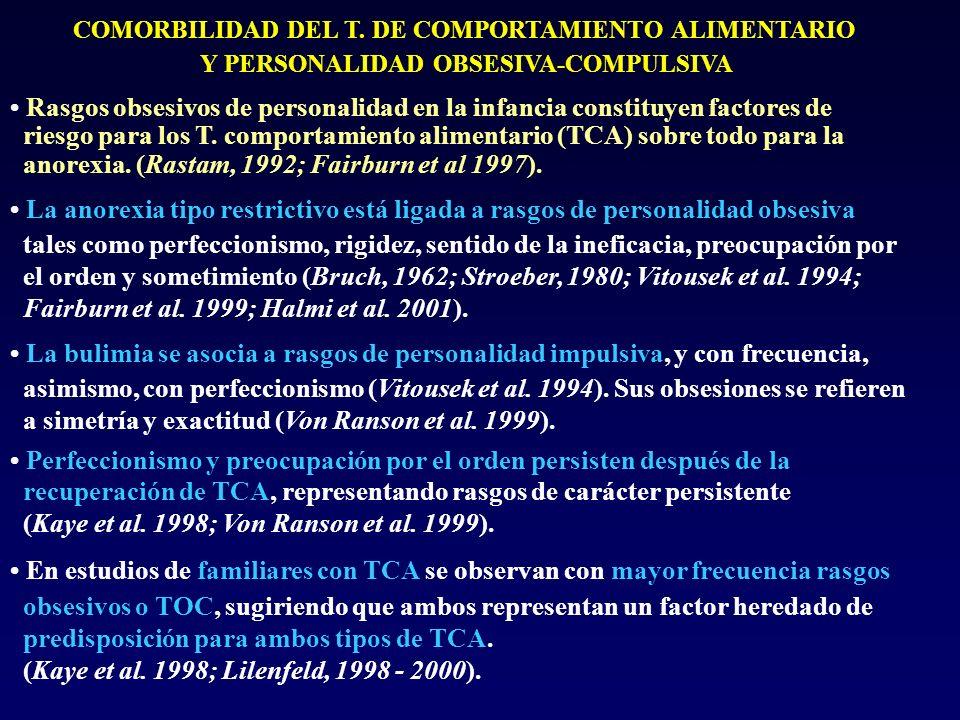 COMORBILIDAD DEL T. DE COMPORTAMIENTO ALIMENTARIO Y PERSONALIDAD OBSESIVA-COMPULSIVA Rasgos obsesivos de personalidad en la infancia constituyen facto