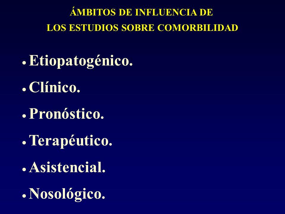 ÁMBITOS DE INFLUENCIA DE LOS ESTUDIOS SOBRE COMORBILIDAD Etiopatogénico. Clínico. Pronóstico. Terapéutico. Asistencial. Nosológico.