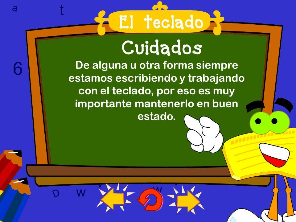 a c t w 6 9 l D a c t w A T 6 9 D A T l w l w c 6 9 Cuidados El teclado es una de las partes más importantes y delicadas de la computadora. El teclado