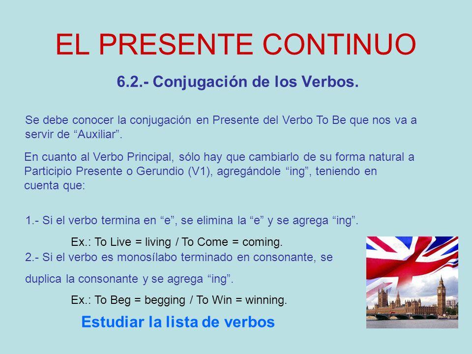 EL PRESENTE CONTINUO 6.3.- Oraciones Afirmativas en Presente Continuo Se reconocen por el uso de la forma en Presente del Verbo To Be (am – is – are), seguida del Participio Presente o Gerundio del Verbo Principal cumpliendo con la siguiente fórmula: S + To Be (am – is – are) + V1 + C + E.T.