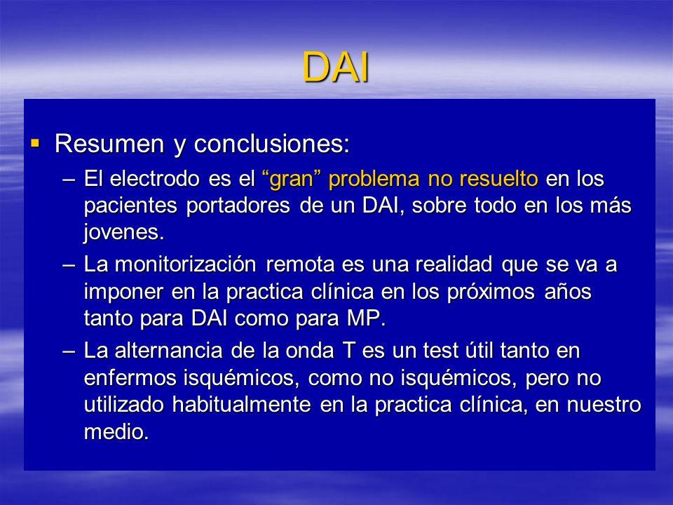DAI Resumen y conclusiones: Resumen y conclusiones: –El electrodo es el gran problema no resuelto en los pacientes portadores de un DAI, sobre todo en los más jovenes.