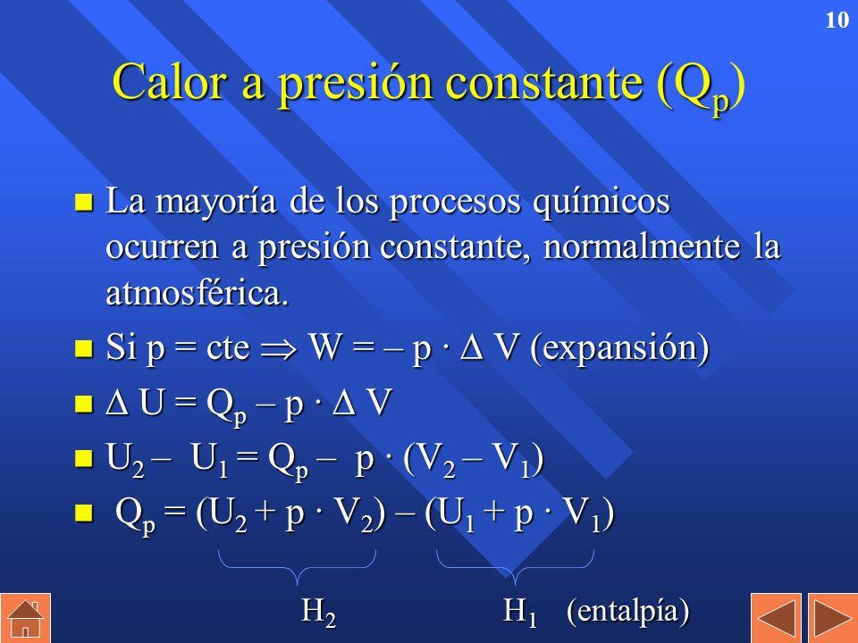 9 Calor a volumen constante (Q v Calor a volumen constante (Q v ) n Es el intercambio de energía en un recipiente cerrado que no cambia de volumen. n