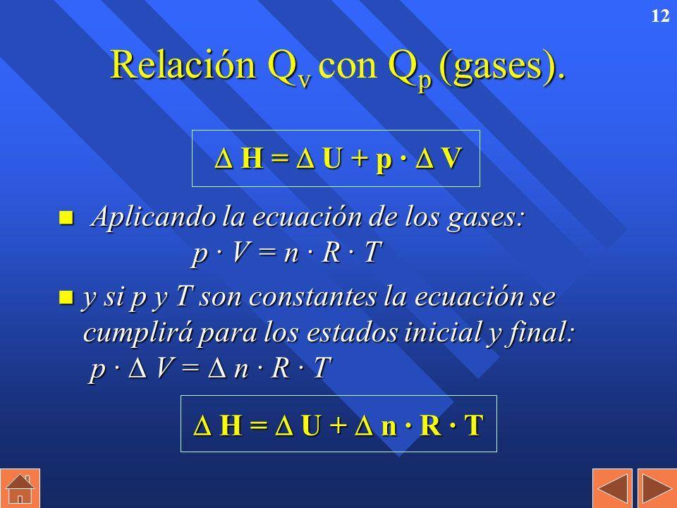 11 Calor a presión constante (Q p Calor a presión constante (Q p ) n H 1 = U 1 + p · V 1 H 2 = U 2 + p · V 2 n Q p = H 2 – H 1 = H n H es una función