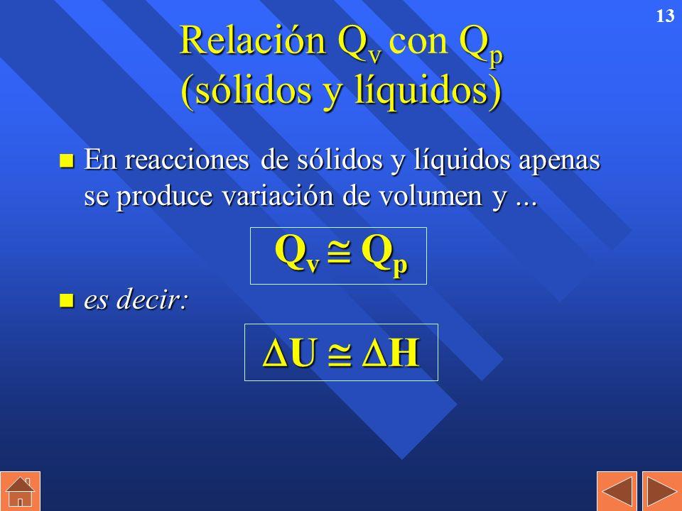 12 Relación Q v Q p (gases). Relación Q v con Q p (gases). H = U + p · V H = U + p · V n Aplicando la ecuación de los gases: p · V = n · R · T n y si