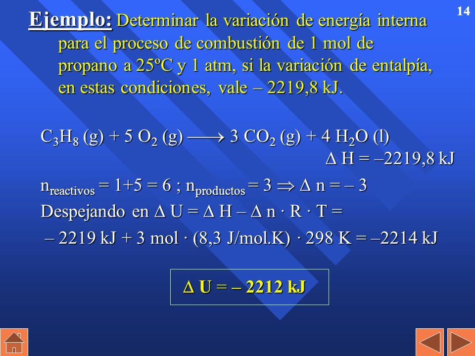 13 Relación Q v Q p (sólidos y líquidos) Relación Q v con Q p (sólidos y líquidos) n En reacciones de sólidos y líquidos apenas se produce variación d