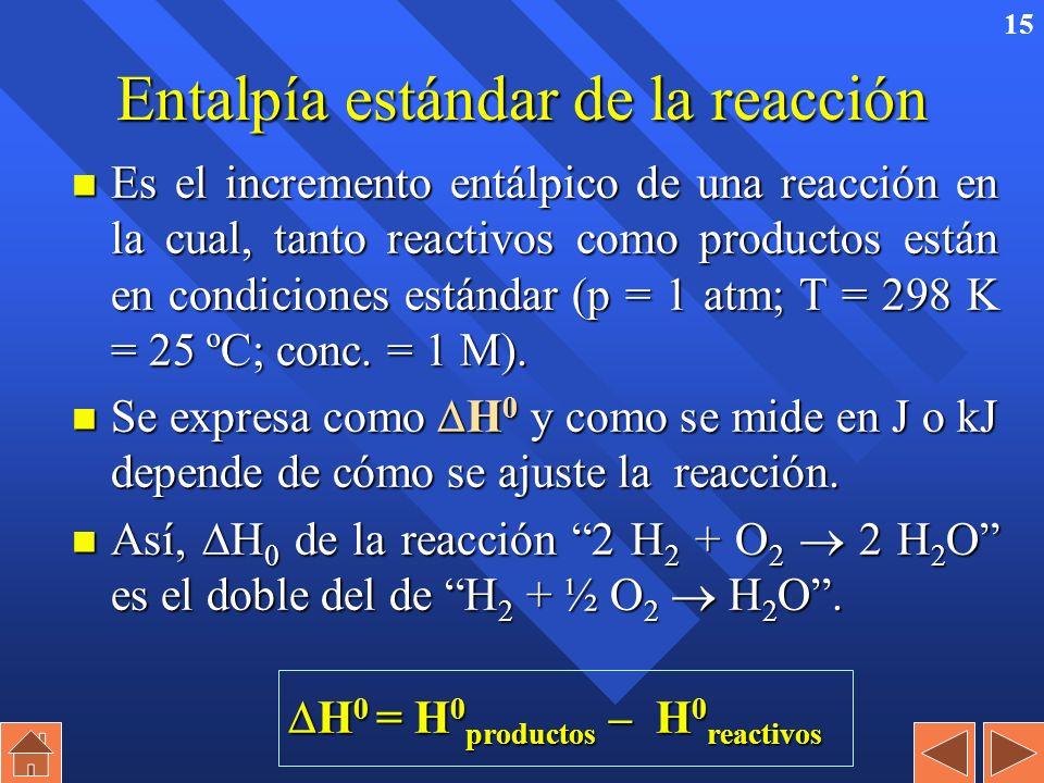 14 Ejemplo: Determinar la variación de energía interna para el proceso de combustión de 1 mol de propano a 25ºC y 1 atm, si la variación de entalpía,