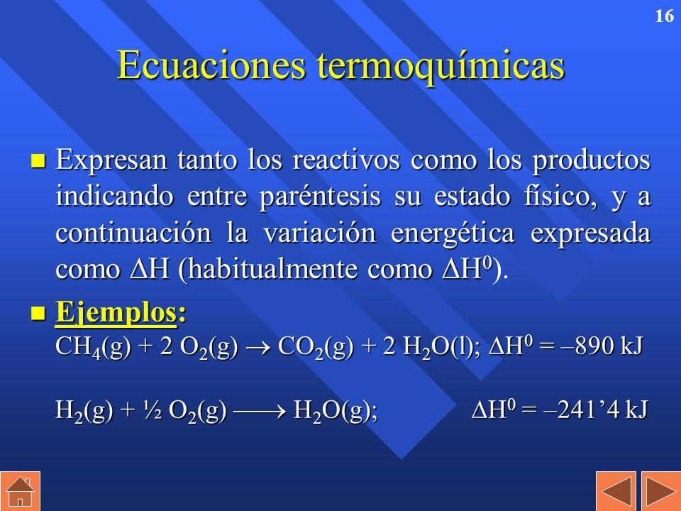15 Entalpía estándar de la reacción n Es el incremento entálpico de una reacción en la cual, tanto reactivos como productos están en condiciones están