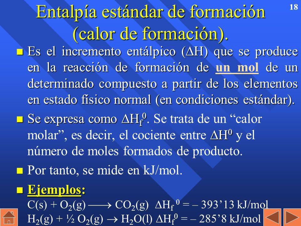 17 Ecuaciones termoquímicas n ¡CUIDADO!: H depende del número de moles que se forman o producen. Por tanto, si se ajusta poniendo coeficientes dobles,