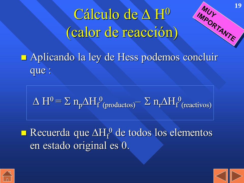 18 Entalpía estándar de formación (calor de formación). n Es el incremento entálpico ( H) que se produce en la reacción de formación de de un determin