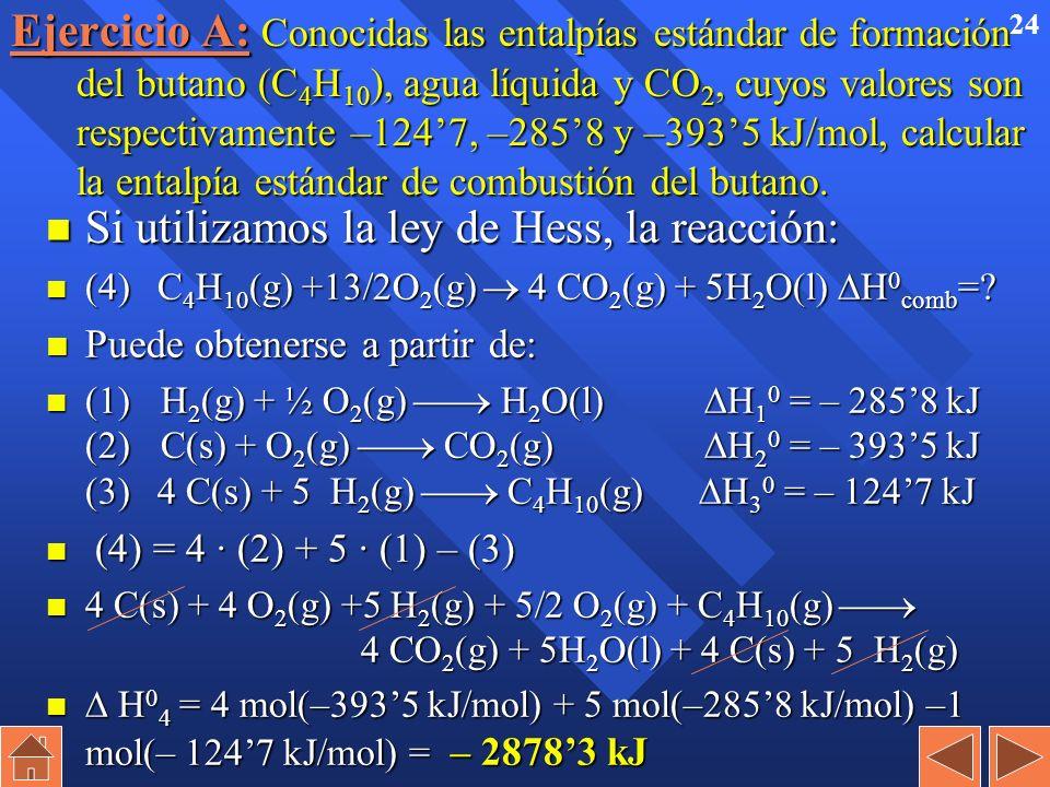 23 Esquema de la ley de Hess H 1 0 = – 2418 kJ H 2 0 = – 2858 kJ H 3 0 = 44 kJ H H 2 (g) + ½ O 2 (g) H 2 O(g) H 2 O(l)