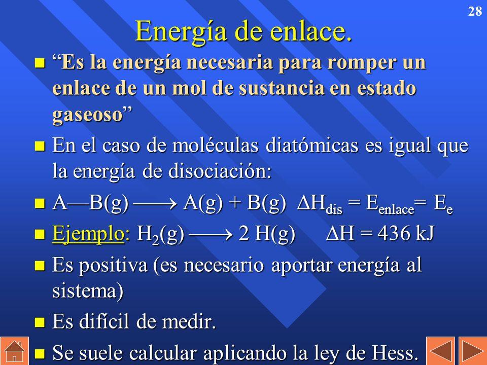 27 Ejercicio D: Las entalpías de combustión de la glucosa (C 6 H 12 O 6 ) y del etanol (C 2 H 5 OH)son –2815 kJ/mol y –1372 kJ/mol, respectivamente. C