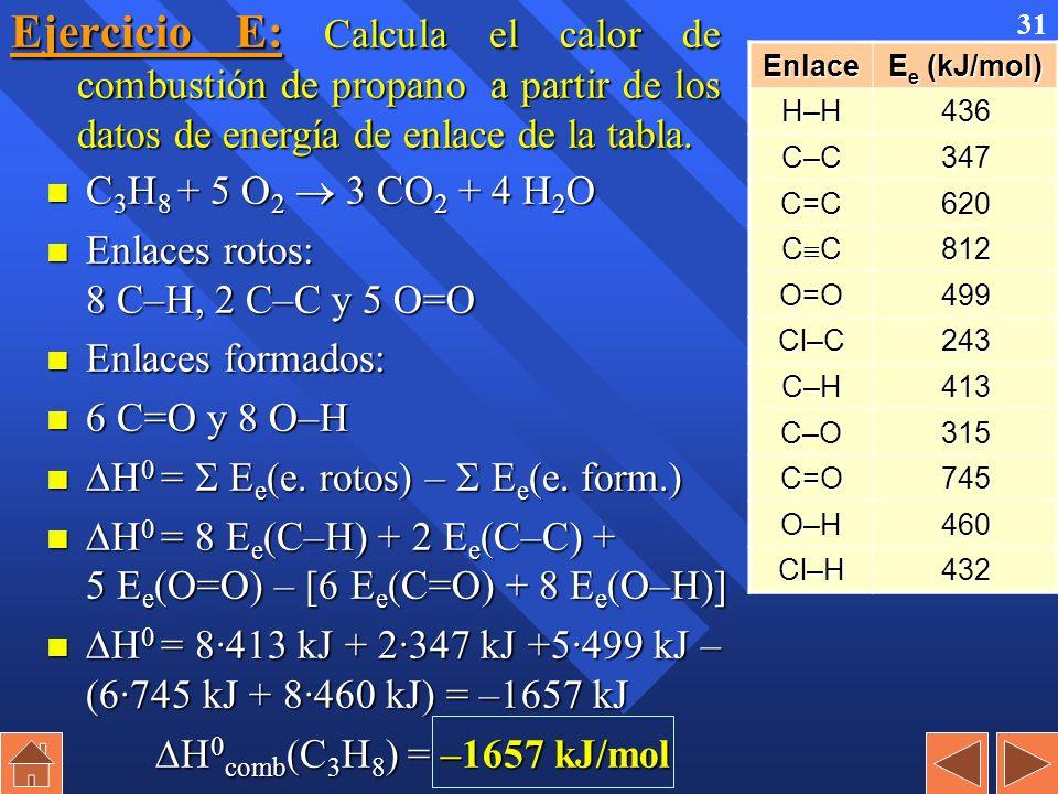30 Ejemplo: Sabiendo que las energía de los siguientes enlaces (kJ/mol): C=C : 611; C–C : 347; C–H : 413 y H–H : 436, calcular el valor de H 0 de la r