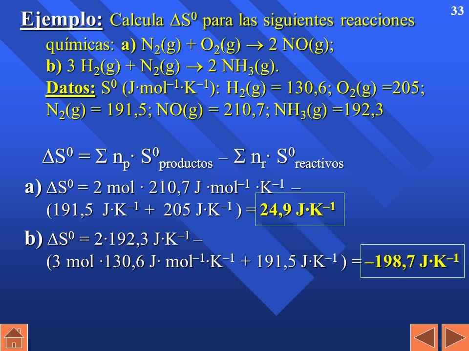 32 Entropía (S) n Es una medida del desorden del sistema que sí puede medirse y tabularse. S = S final – S inicial S = S final – S inicial n Existen t