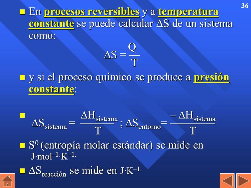 35 Tercer principio de la Termodinámica n La entropía de cualquier sustancia a 0 K es igual a 0 (máximo orden). n Equivale a decir que no se puede baj
