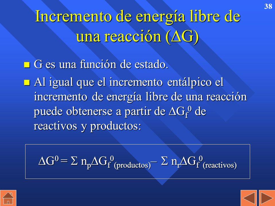 37 Energía libre de Gibbs (G) (energía libre o entalpía libre). n En procesos a T constante se define como: G = H – T · S G = H – T · S n En condicion