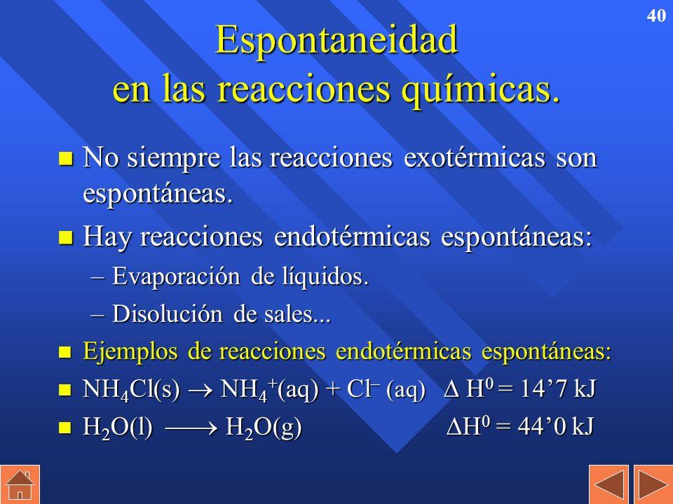 39 Energía libre y Espontaneidad de las reacciones químicas Reactivos Energía libre (G) Productos G > 0 Energía libre (G) Reactivos Productos G < 0 Re