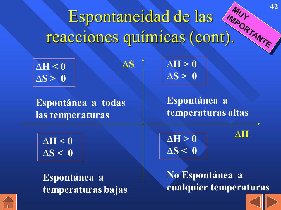 41 Espontaneidad de las reacciones químicas (cont). n Una reacción es espontánea cuando G ( H – T x S) es negativo. n Según sean positivos o negativos