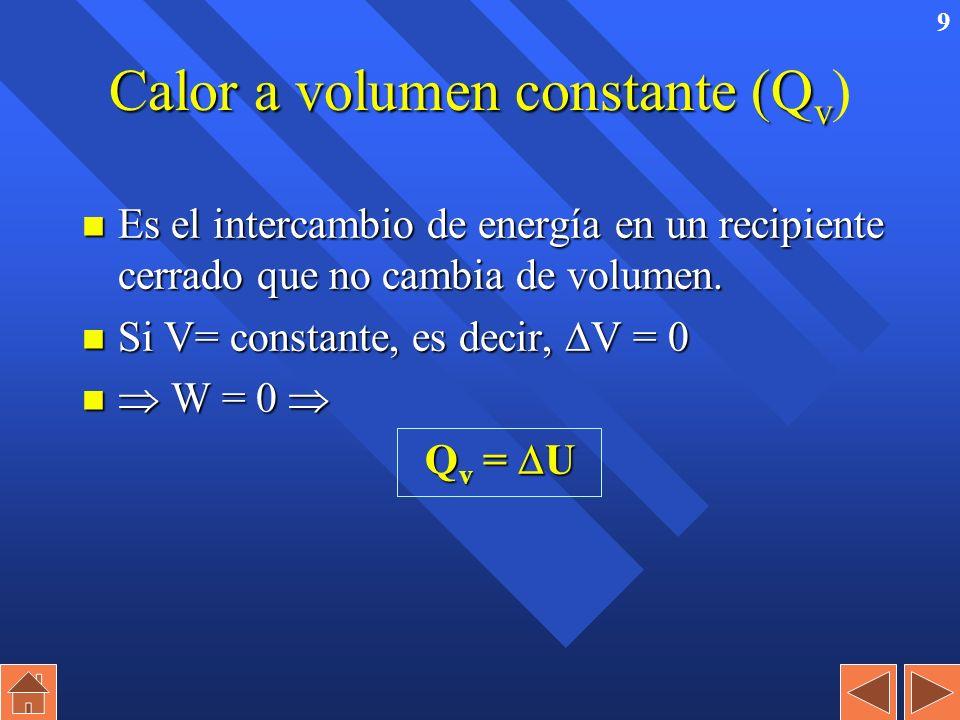 8 Primer principio de la Termodinámica n ENERGÍA INTERNA (U) es la energía total del sistema. –Es imposible medir. –Su variación sí se mide. n U = Q +