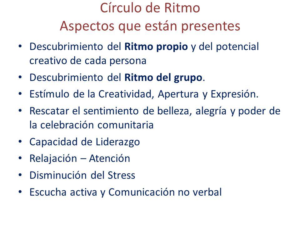 Círculo de Ritmo Aspectos que están presentes Descubrimiento del Ritmo propio y del potencial creativo de cada persona Descubrimiento del Ritmo del grupo.