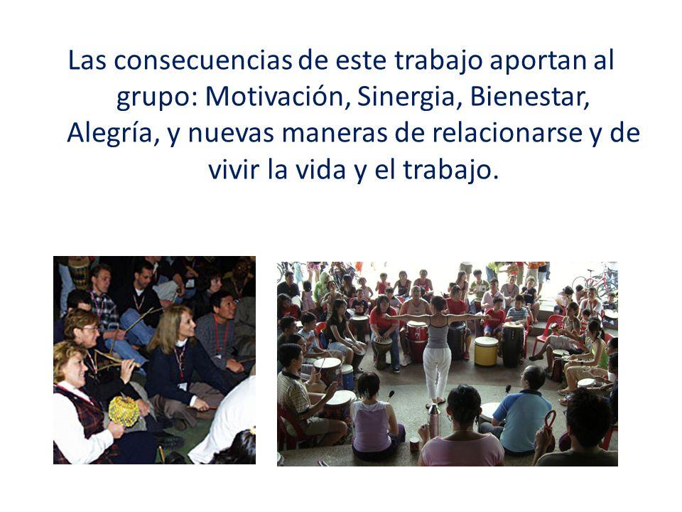Las consecuencias de este trabajo aportan al grupo: Motivación, Sinergia, Bienestar, Alegría, y nuevas maneras de relacionarse y de vivir la vida y el trabajo.