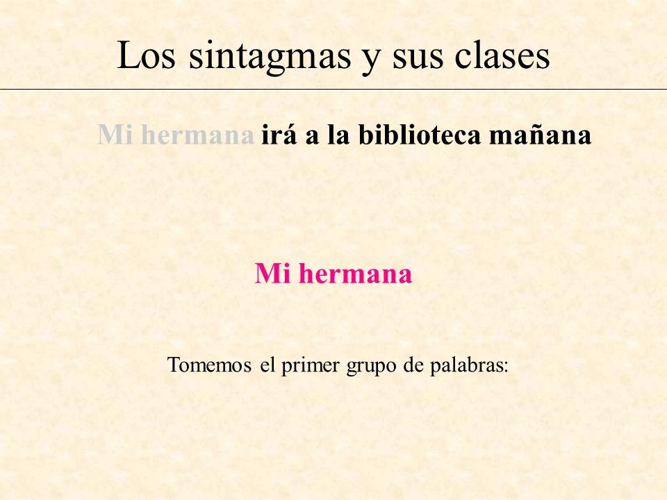 Los sintagmas y sus clases Mi hermana irá a la biblioteca mañana Mi hermana Tomemos el primer grupo de palabras:
