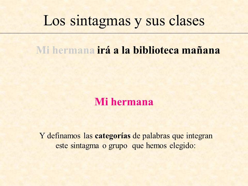 Los sintagmas y sus clases Mi hermana irá a la biblioteca mañana Mi hermana Y definamos las categorías de palabras que integran este sintagma o grupo