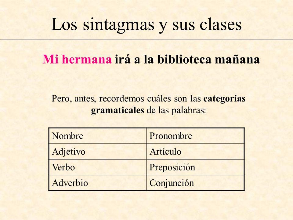 Los sintagmas y sus clases Mi hermana irá a la biblioteca mañana Pero, antes, recordemos cuáles son las categorías gramaticales de las palabras: Nombr