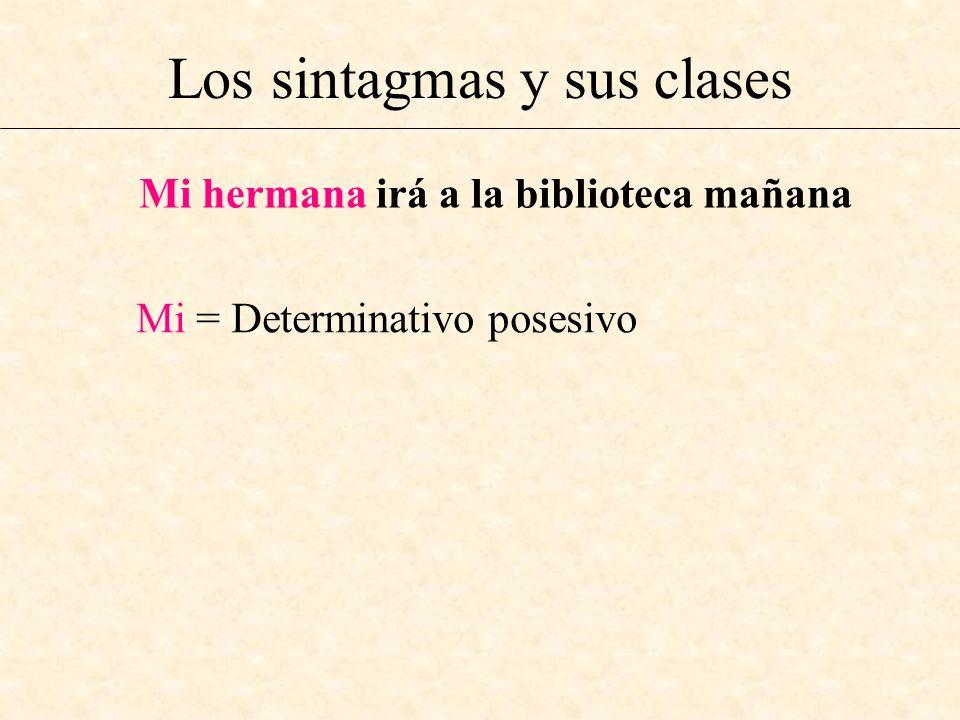 Los sintagmas y sus clases Mi hermana irá a la biblioteca mañana Mi = Determinativo posesivo