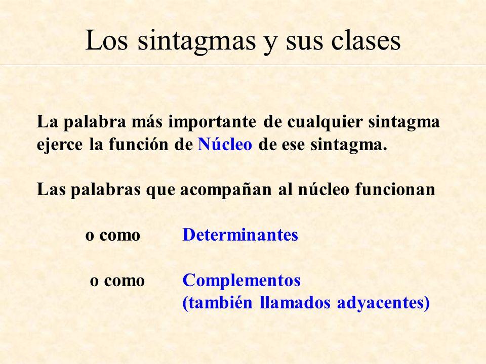 Los sintagmas y sus clases La palabra más importante de cualquier sintagma ejerce la función de Núcleo de ese sintagma. Las palabras que acompañan al