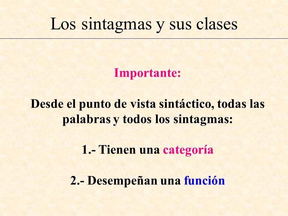Los sintagmas y sus clases Importante: Desde el punto de vista sintáctico, todas las palabras y todos los sintagmas: 1.- Tienen una categoría 2.- Dese