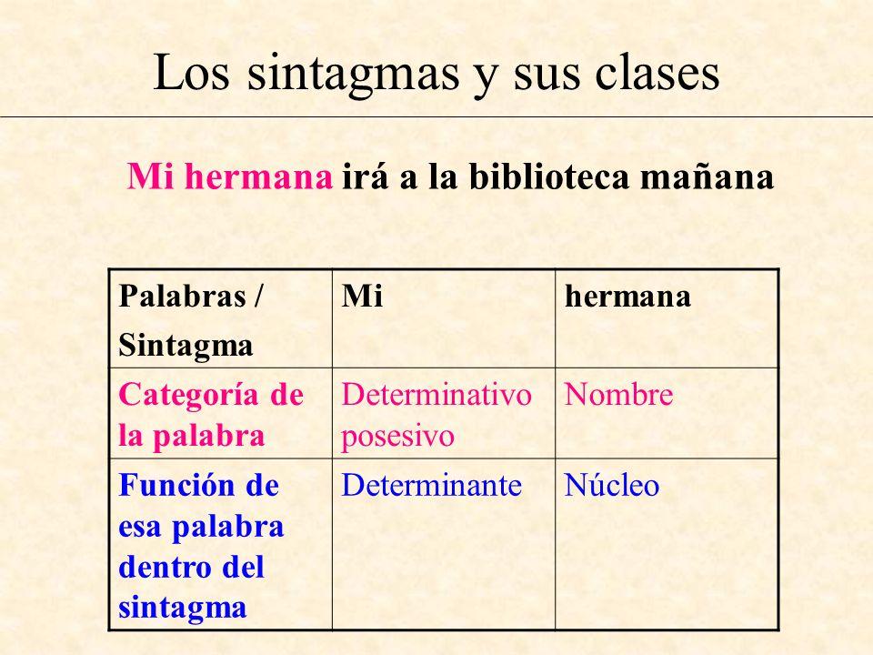 Los sintagmas y sus clases Mi hermana irá a la biblioteca mañana Palabras / Sintagma Mihermana Categoría de la palabra Determinativo posesivo Nombre F