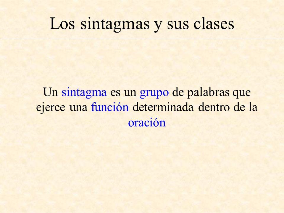 Los sintagmas y sus clases Un sintagma es un grupo de palabras que ejerce una función determinada dentro de la oración