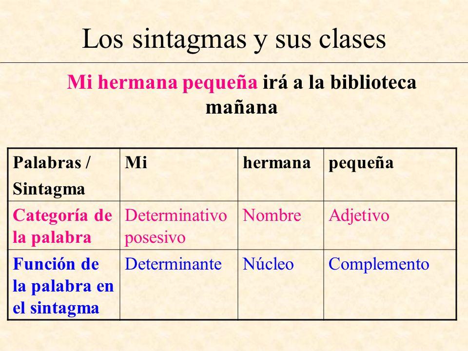 Los sintagmas y sus clases Mi hermana pequeña irá a la biblioteca mañana Palabras / Sintagma Mihermanapequeña Categoría de la palabra Determinativo po
