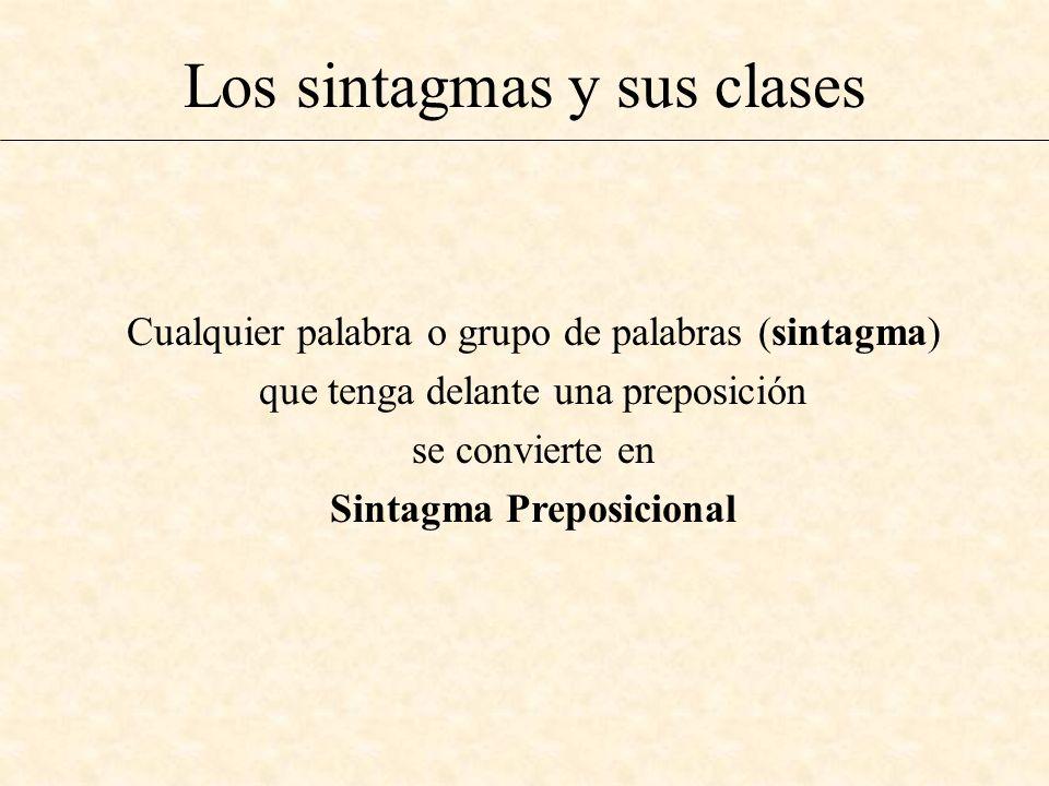 Los sintagmas y sus clases Cualquier palabra o grupo de palabras (sintagma) que tenga delante una preposición se convierte en Sintagma Preposicional