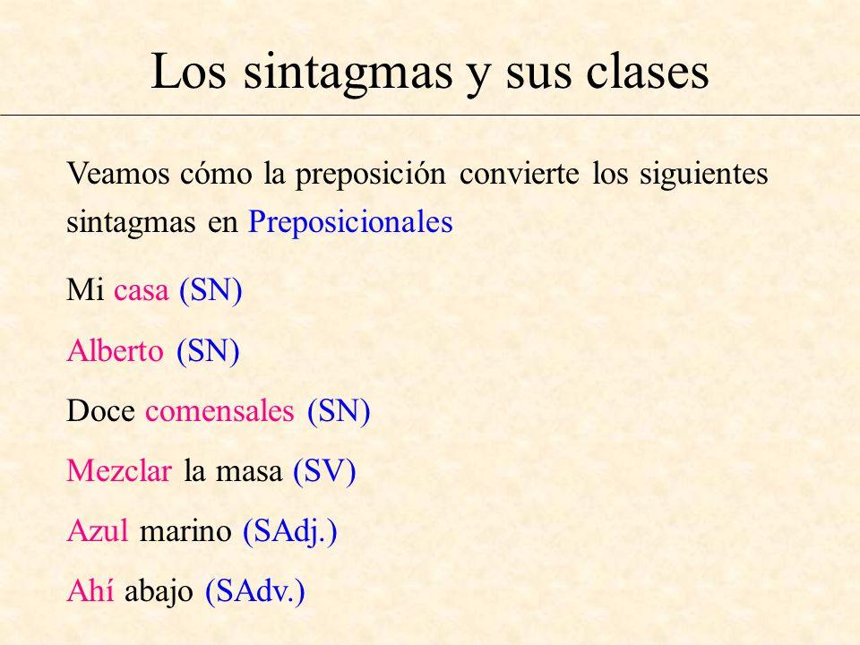 Los sintagmas y sus clases Veamos cómo la preposición convierte los siguientes sintagmas en Preposicionales Mi casa (SN) Alberto (SN) Doce comensales